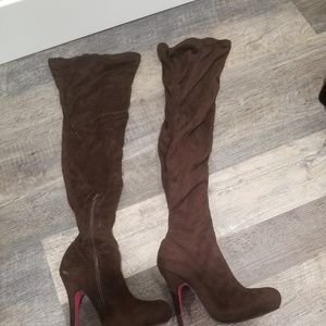 FINAL SALE Brown Over the Knee Boots w/ Pink Soles